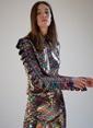 morhipoxsudi etuz Renkli Payetli Kolu Fırfır Detaylı Bluz Renkli